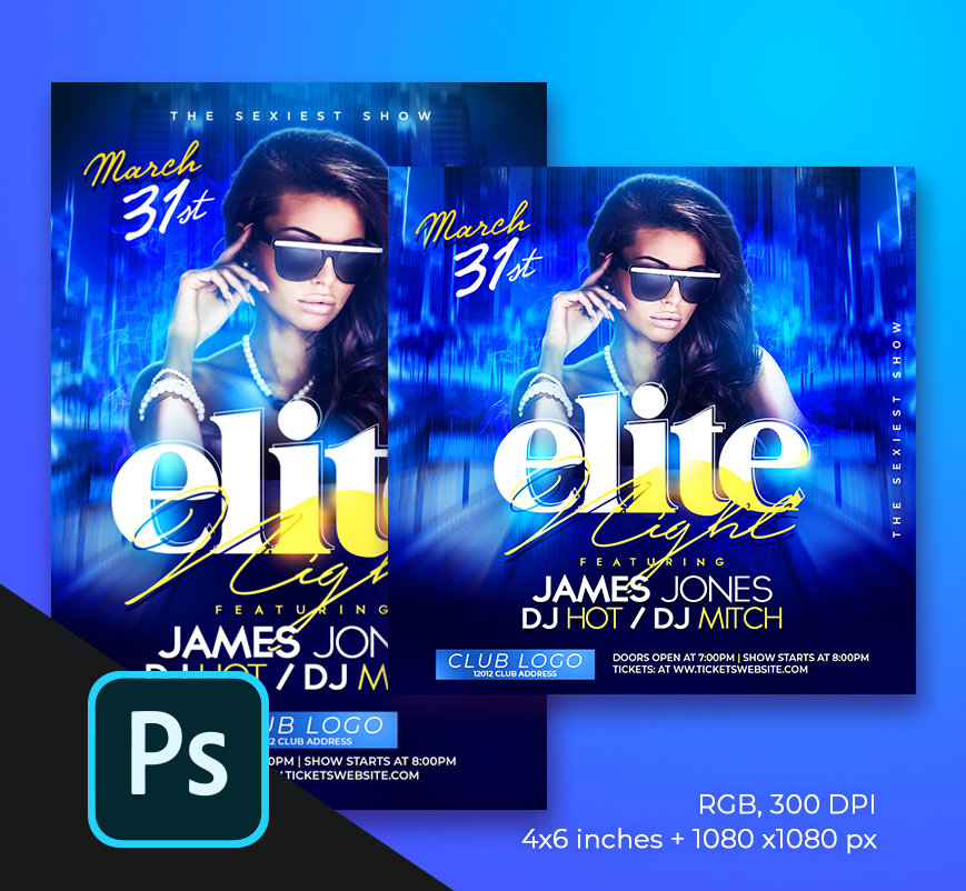 Elite Night Flyer PSD