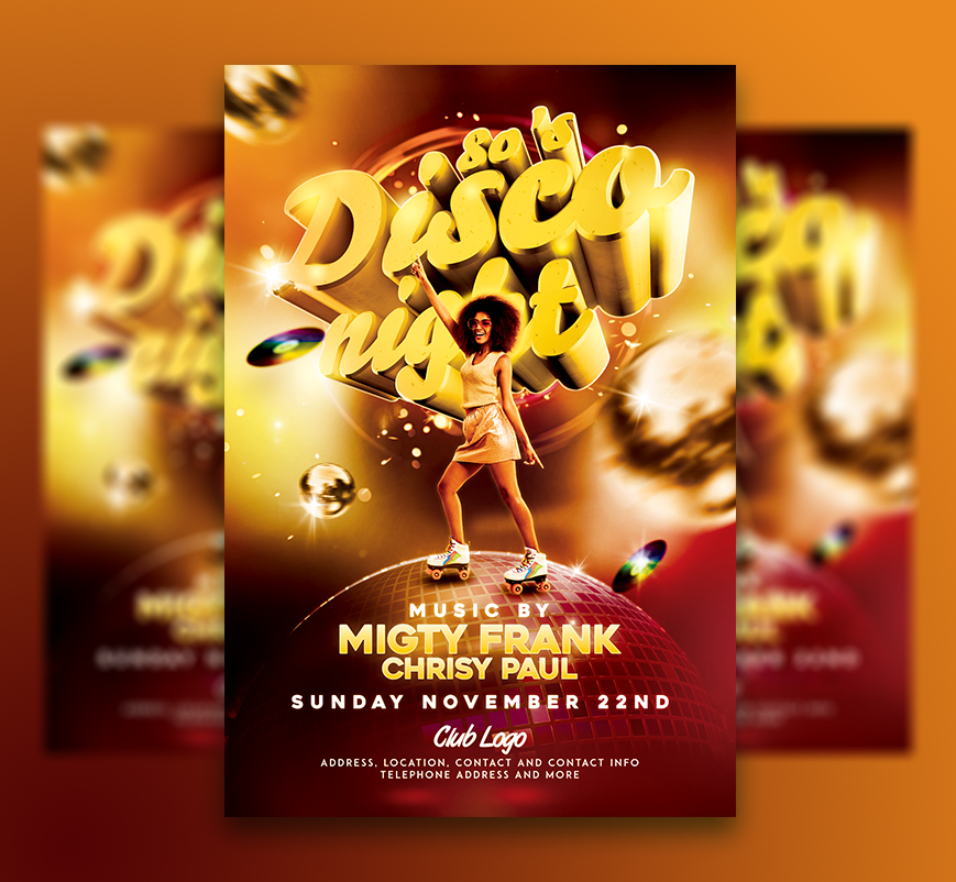 psd template hot club flyers